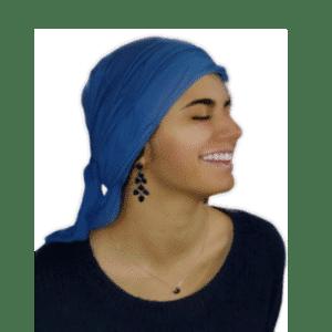bandana oncologica fibra bambú azulona